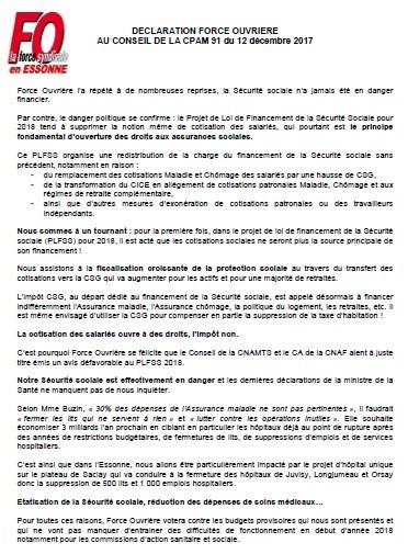 Image of DECLARATION FO AU CONSEIL DE LA CPAM 91 - 12/12/2017