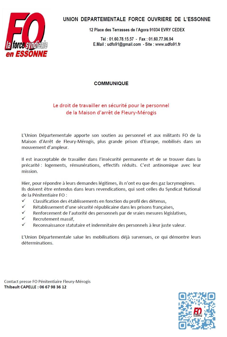 Image of Le droit de travailler en sécurité pour le personnel de la Maison d'arrêt de Fleury-Mérogis