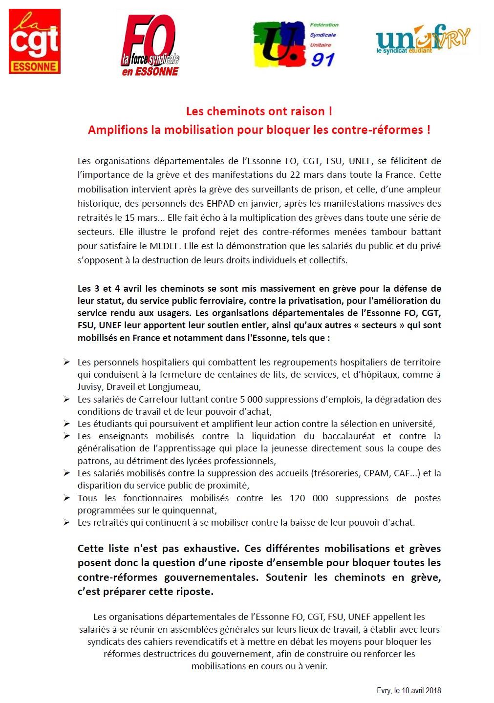 Image of Les cheminots ont raison ! Amplifions la mobilisation pour bloquer les contre-réformes !