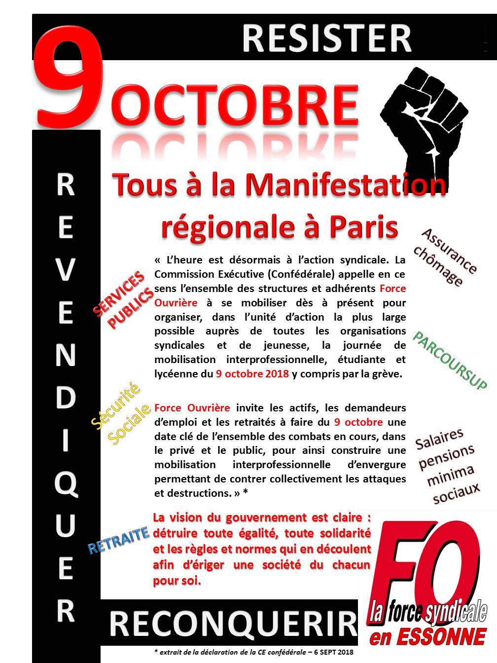 Image of GREVE ET MANIFESTATION DU 09 OCTOBRE 2018