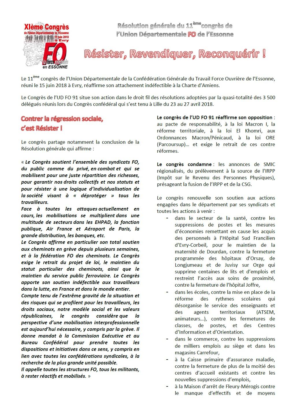 Image of XIème CONGRES UD FO 91